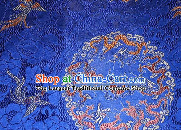 Asian Chinese Tang Suit Satin Material Traditional Dragons Pattern Design Royalblue Brocade Silk Fabric