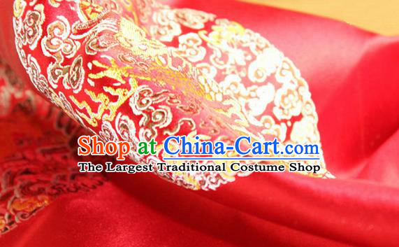Asian Chinese Tang Suit Satin Material Traditional Dragons Pattern Design Red Brocade Silk Fabric