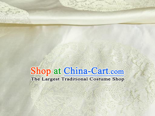 Asian Chinese Tang Suit Satin Material Traditional Dragon Pattern Design White Brocade Silk Fabric