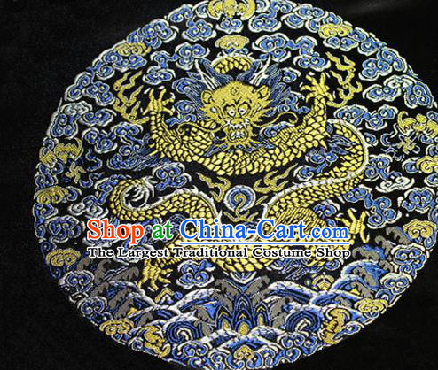 Asian Chinese Tang Suit Satin Material Traditional Dragon Pattern Design Black Brocade Silk Fabric