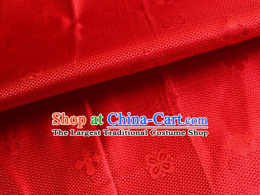 Asian Chinese Tang Suit Material Traditional Pattern Design Red Satin Brocade Silk Fabric