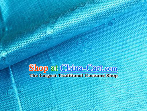Asian Chinese Tang Suit Material Traditional Pattern Design Blue Satin Brocade Silk Fabric