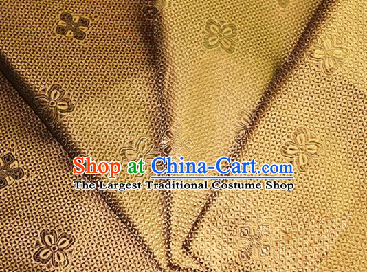 Asian Chinese Tang Suit Material Traditional Pattern Design Golden Satin Brocade Silk Fabric