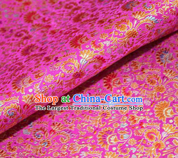 Asian Chinese Tang Suit Material Traditional Cockscomb Pattern Design Pink Satin Brocade Silk Fabric