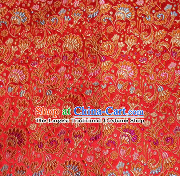 Asian Chinese Tang Suit Material Traditional Cockscomb Pattern Design Red Satin Brocade Silk Fabric