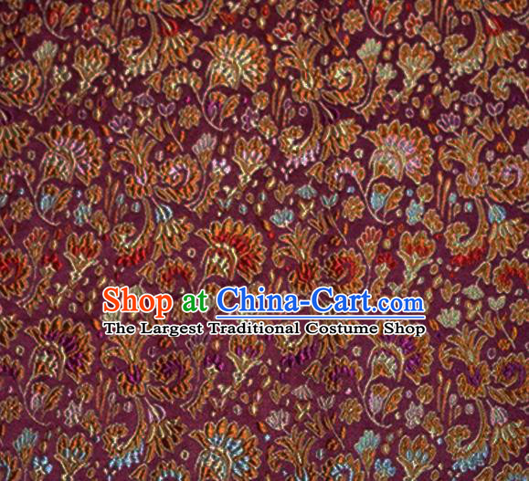 Asian Chinese Tang Suit Material Traditional Cockscomb Pattern Design Purple Satin Brocade Silk Fabric