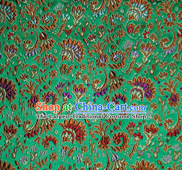 Asian Chinese Tang Suit Material Traditional Cockscomb Pattern Design Deep Green Satin Brocade Silk Fabric