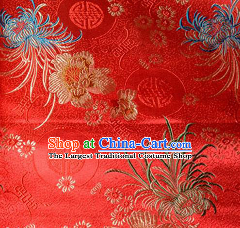 Asian Chinese Tang Suit Material Traditional Chrysanthemum Peony Pattern Design Red Satin Brocade Silk Fabric
