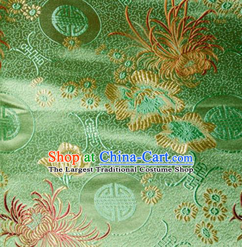 Asian Chinese Tang Suit Material Traditional Chrysanthemum Peony Pattern Design Green Satin Brocade Silk Fabric