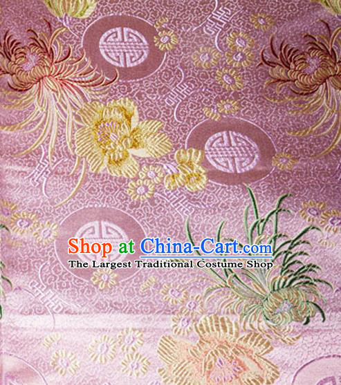 Asian Chinese Tang Suit Material Traditional Chrysanthemum Peony Pattern Design Pink Satin Brocade Silk Fabric