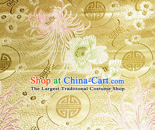 Asian Chinese Tang Suit Material Traditional Chrysanthemum Peony Pattern Design Golden Satin Brocade Silk Fabric