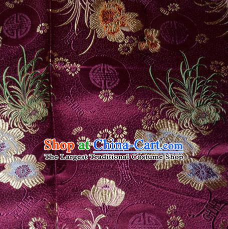 Asian Chinese Tang Suit Material Traditional Chrysanthemum Peony Pattern Design Purple Satin Brocade Silk Fabric