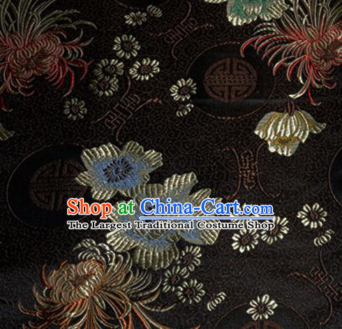 Asian Chinese Tang Suit Material Traditional Chrysanthemum Peony Pattern Design Black Satin Brocade Silk Fabric
