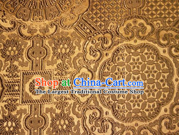 Asian Chinese Tang Suit Material Traditional Pattern Design Golden Brocade Silk Fabric