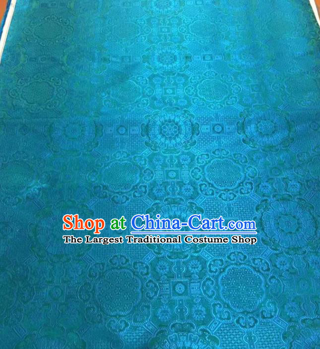 Asian Chinese Tang Suit Material Traditional Pattern Design Blue Brocade Silk Fabric