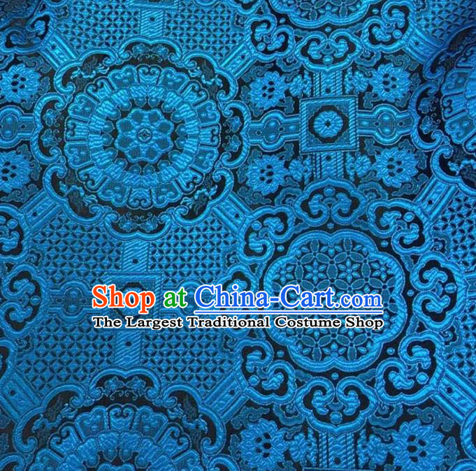 Asian Chinese Tang Suit Material Traditional Pattern Design Navy Brocade Silk Fabric