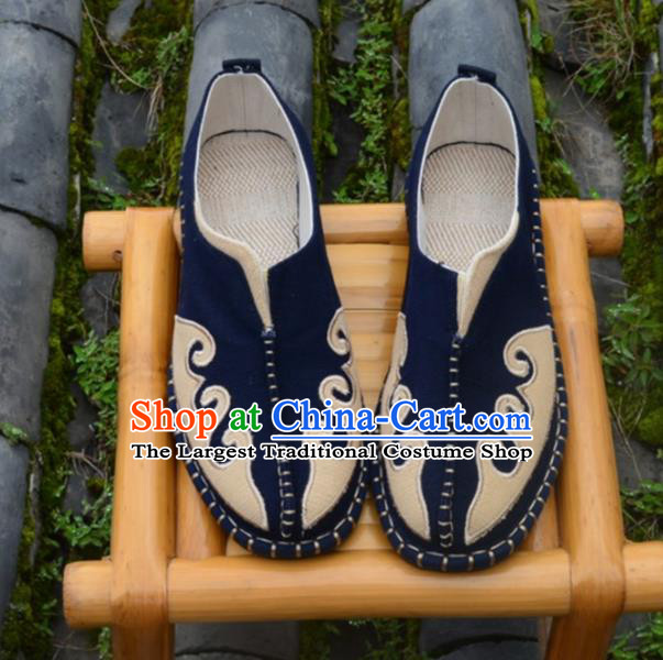 Chinese Traditional Shoes Ancient Swordsman Shoes Navy Linen Shoes for Men