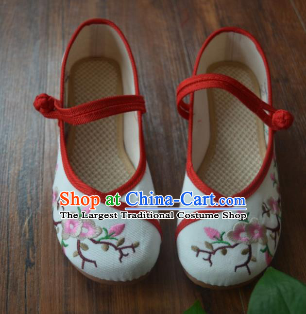 Chinese Traditional Hanfu White Shoes Ancient Princess Shoes Embroidered Shoes for Women