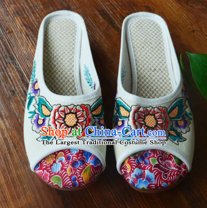 Chinese Traditional Hanfu Shoes Ancient Princess Shoes Embroidered White Linen Slippers for Women