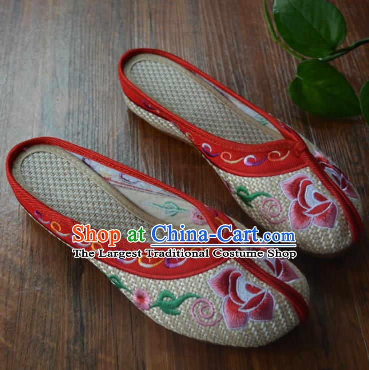 Chinese Traditional Hanfu Shoes Ancient Princess Shoes Embroidered Peony Slippers for Women