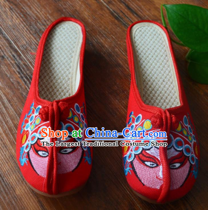 Chinese Traditional Hanfu Shoes Ancient Princess Shoes Embroidered Red Slippers for Women