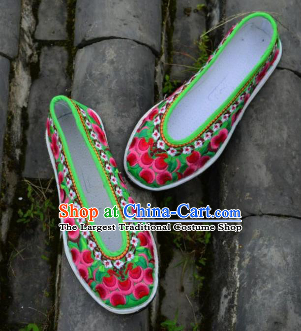 Chinese Traditional Hanfu Green Shoes Ancient Princess Shoes Embroidered Shoes for Women