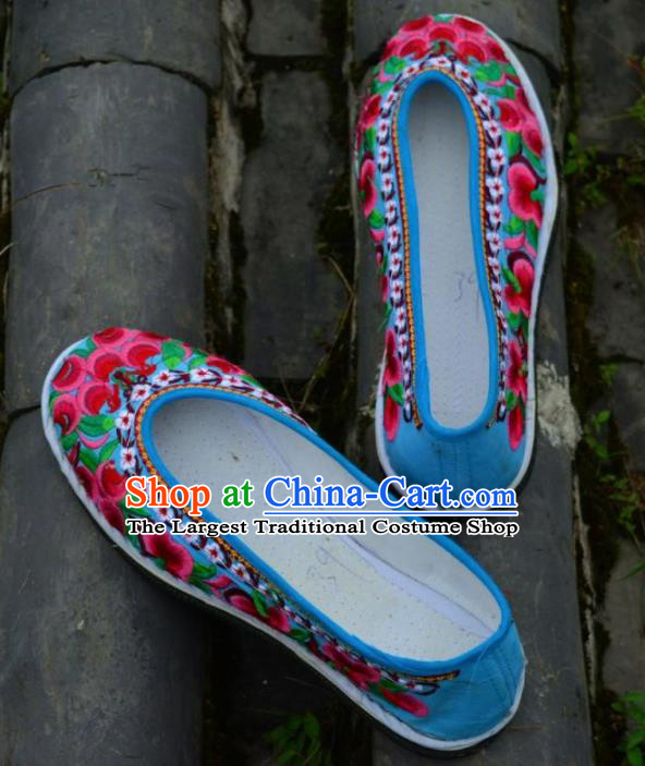 Chinese Traditional Hanfu Blue Shoes Ancient Princess Shoes Embroidered Shoes for Women