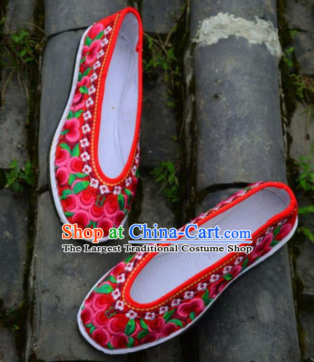 Chinese Traditional Hanfu Red Shoes Ancient Princess Shoes Embroidered Shoes for Women