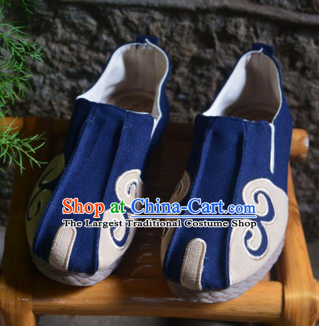 Chinese Traditional National Martial Arts Shoes Ancient Navy Linen Shoes Monk Shoes for Men