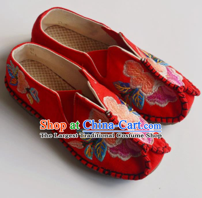 Chinese Traditional Red Embroidered Shoes Hanfu Shoes Ancient Princess Shoes for Women