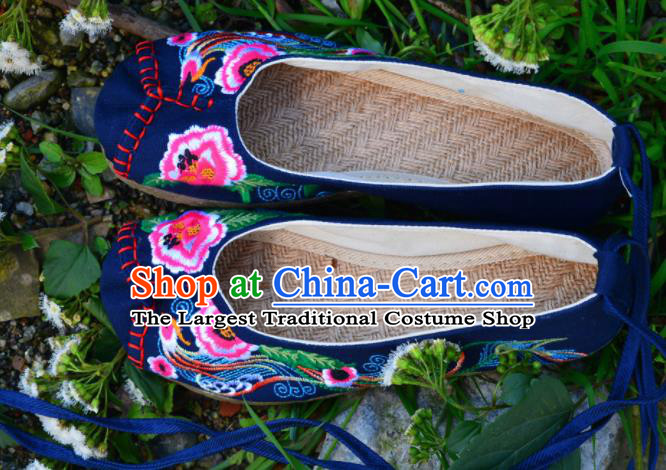 Chinese Traditional Embroidered Shoes Handmade Navy Hanfu Shoes Ancient Princess Shoes for Women
