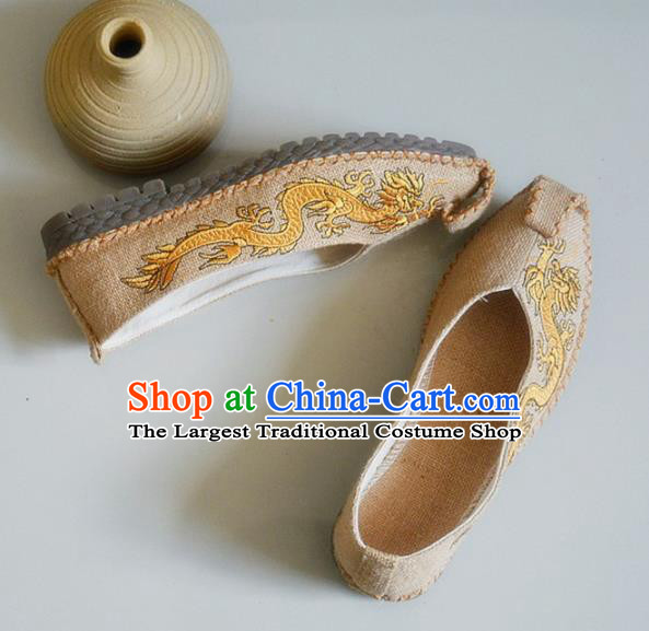 Chinese Traditional National Embroidered Dragons Beige Linen Shoes Martial Arts Shoes Ancient Monk Shoes for Men