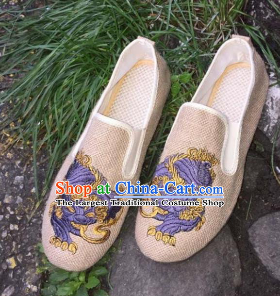 Chinese Traditional National Embroidered Shoes Martial Arts Shoes Ancient Monk Beige Linen Shoes for Men