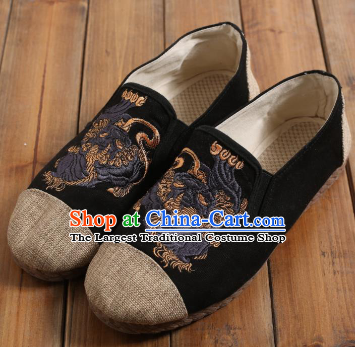 Chinese Traditional National Embroidered Shoes Martial Arts Shoes Ancient Monk Black Linen Shoes for Men
