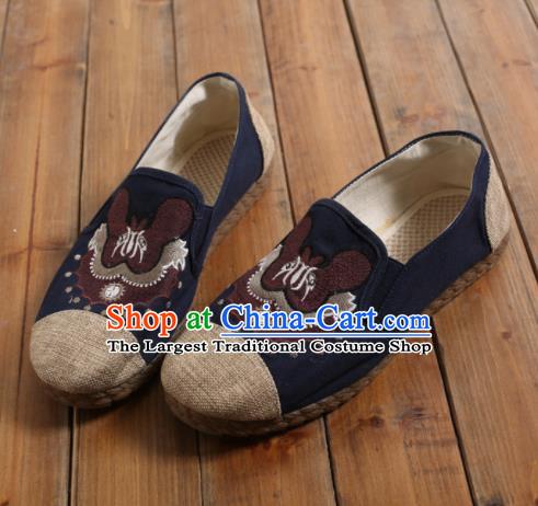 Chinese Traditional National Embroidered Shoes Martial Arts Shoes Ancient Monk Shoes for Men