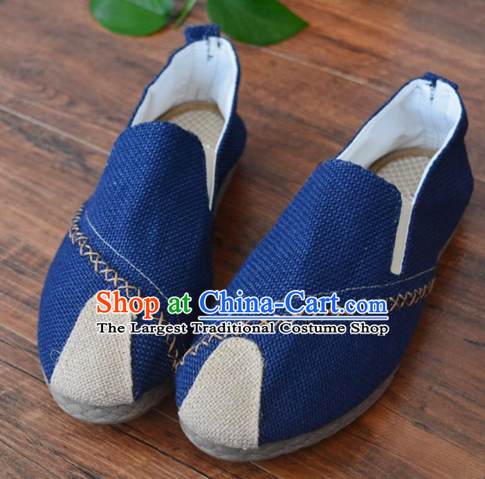 Chinese Traditional Martial Arts Shoes Ancient Shoes Blue Linen Shoes for Men