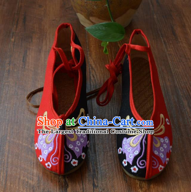 Chinese Traditional Hanfu Shoes Ancient Martial Arts Shoes Embroidered Butterfly Red Shoes for Women