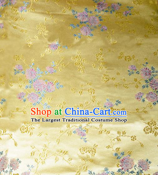 Asian Chinese Tang Suit Golden Brocade Material Traditional Chrysanthemum Pattern Design Satin Silk Fabric