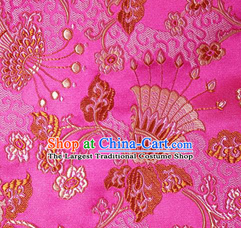 Asian Chinese Tang Suit Rosy Brocade Material Traditional Palace Pattern Design Satin Silk Fabric
