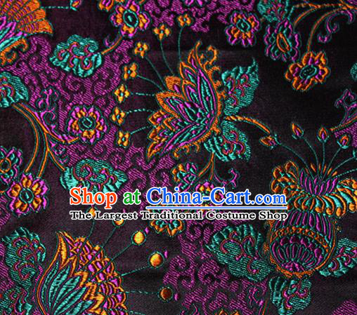 Asian Chinese Tang Suit Black Brocade Material Traditional Palace Pattern Design Satin Silk Fabric
