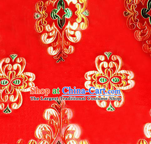 Asian Chinese Tang Suit Red Brocade Material Traditional Palace Pattern Design Satin Silk Fabric