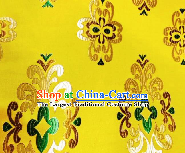 Asian Chinese Tang Suit Yellow Brocade Material Traditional Palace Pattern Design Satin Silk Fabric