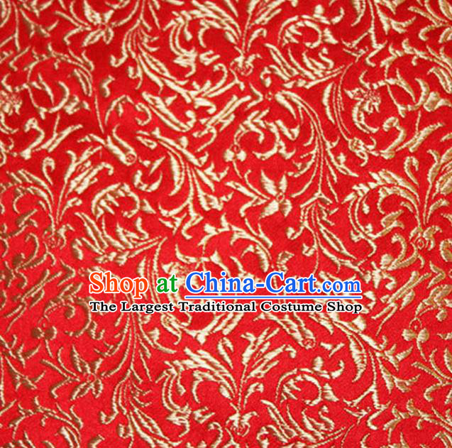 Asian Chinese Tang Suit Silk Fabric Red Brocade Material Traditional Palace Pattern Design Satin