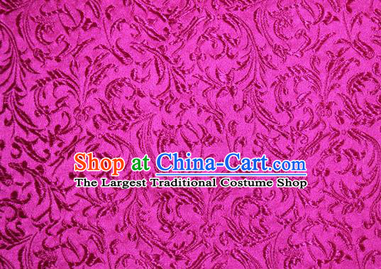 Asian Chinese Tang Suit Silk Fabric Rosy Brocade Material Traditional Palace Pattern Design Satin