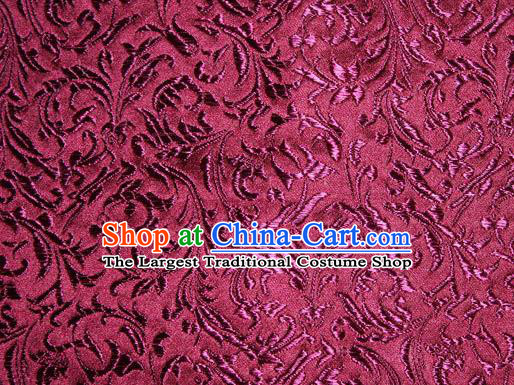 Asian Chinese Tang Suit Silk Fabric Purplish Red Brocade Material Traditional Palace Pattern Design Satin