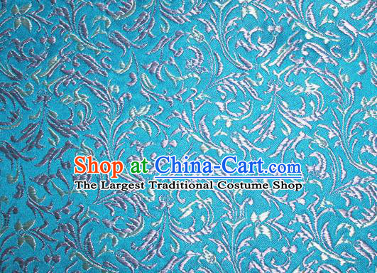 Asian Chinese Tang Suit Silk Fabric Blue Brocade Material Traditional Palace Pattern Design Satin