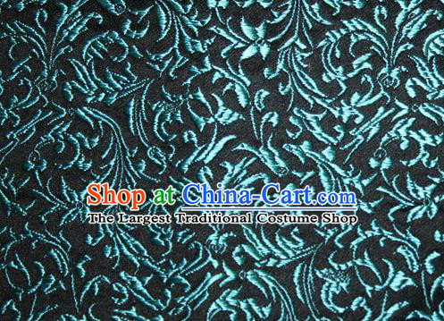 Asian Chinese Tang Suit Silk Fabric Brocade Material Traditional Blue Palace Pattern Design Satin