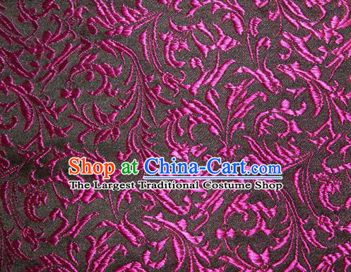 Asian Chinese Tang Suit Silk Fabric Brocade Material Traditional Purple Palace Pattern Design Satin