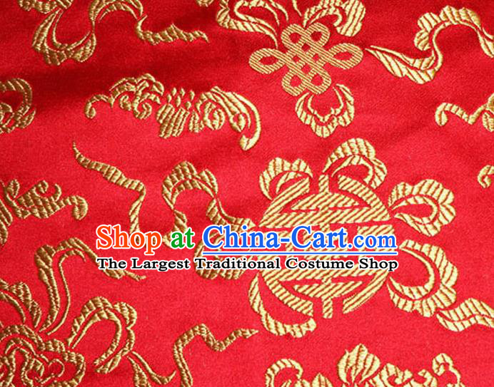 Asian Chinese Tang Suit Silk Fabric Red Brocade Material Traditional Cucurbit Pattern Design Satin