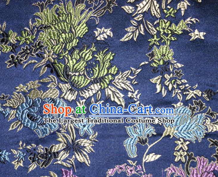 Asian Chinese Tang Suit Silk Fabric Navy Brocade Traditional Peony Pattern Design Satin Material